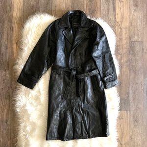 NWOT VTG Navarre Leather Trench Italian Design
